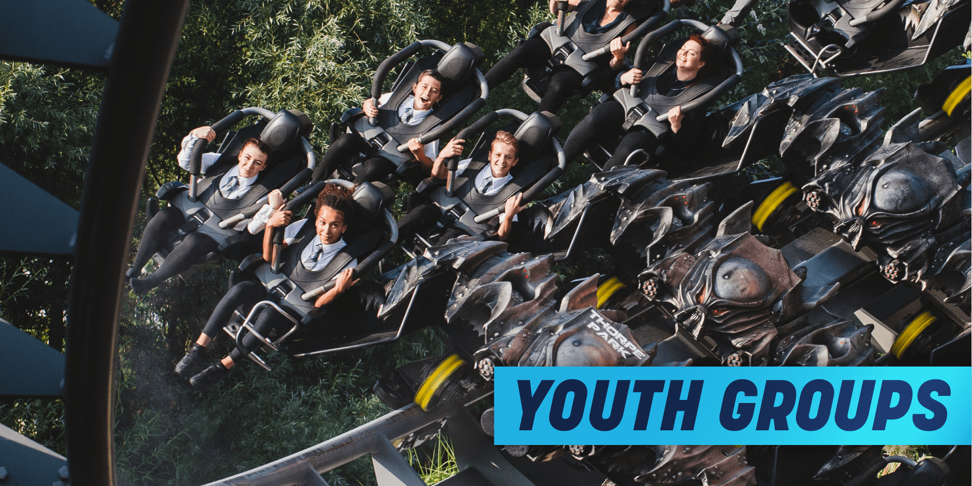 Youth Groups Discount , students on rollercoaster