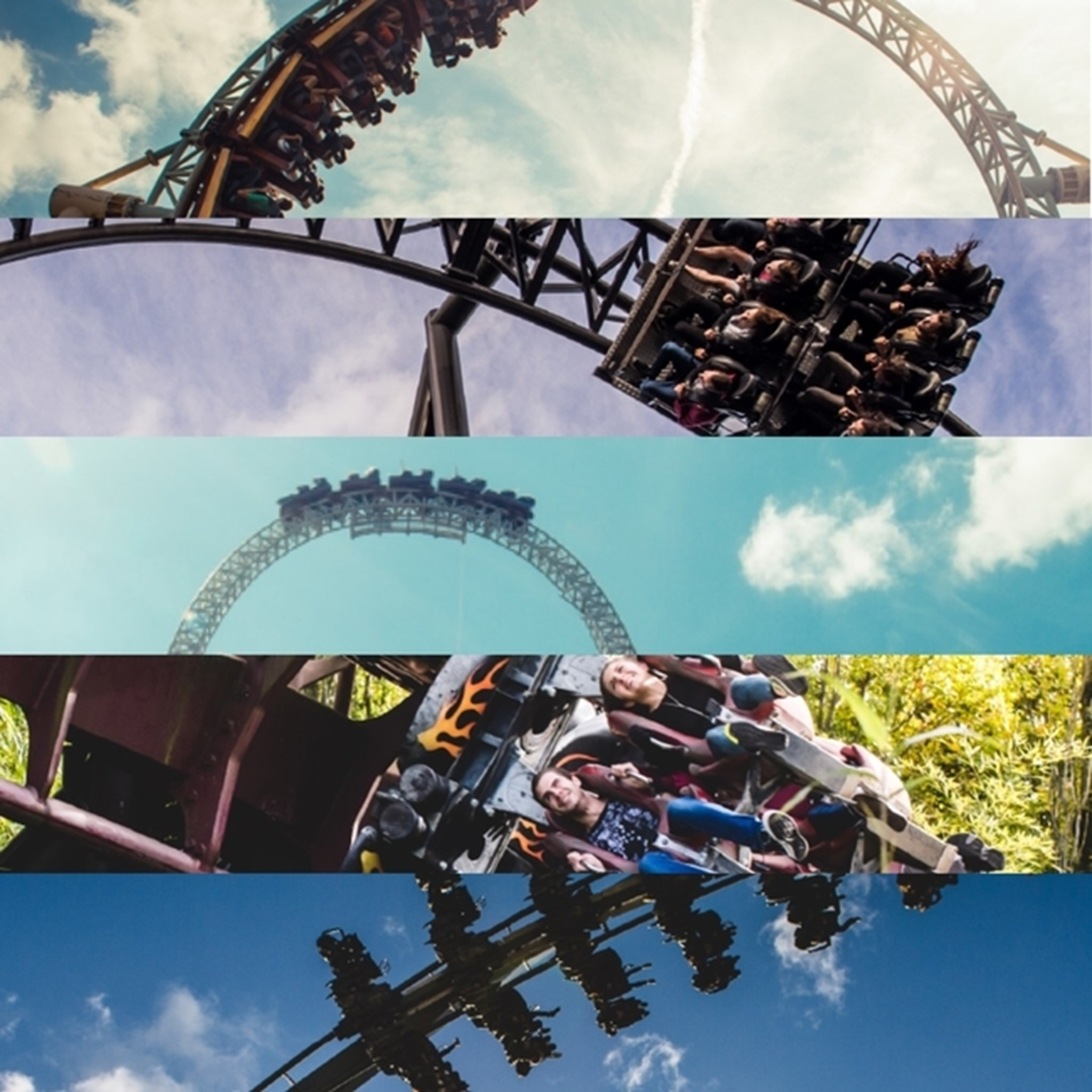 Vertical Collage Of Rollercoasters