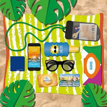 Beach Towel With Summer Essentials On It