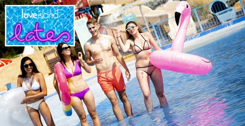 Love Island Lates promo image featuring a group in swimwear