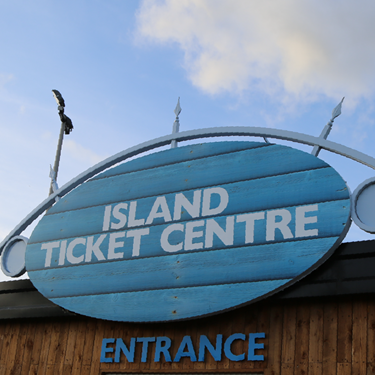 Island Ticket Centre Sign