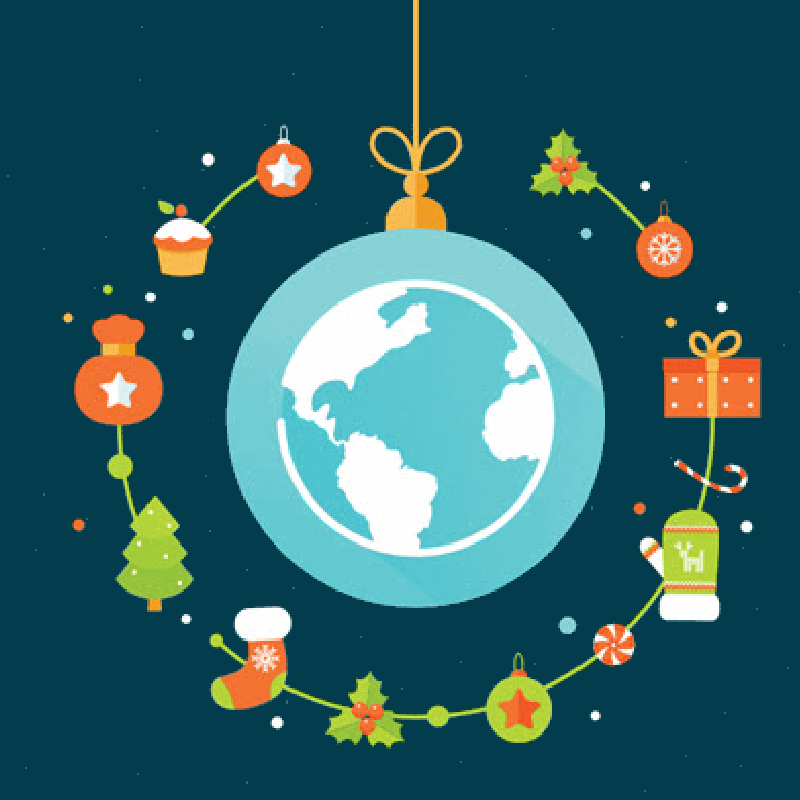 Illustration of a globe surrounded with Christmas items