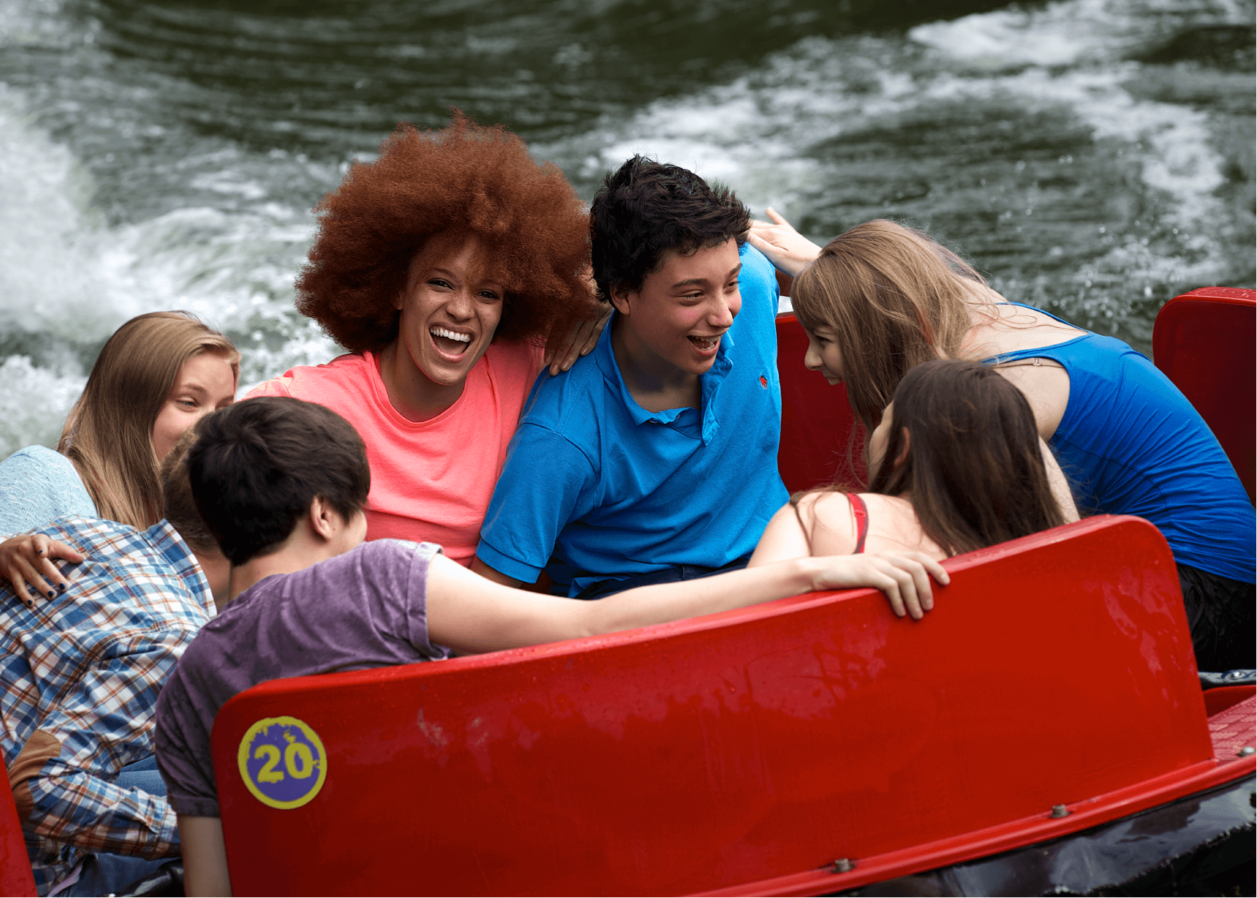 Rumba Rapids Water Ride , Group of Teenage Guests Laughing