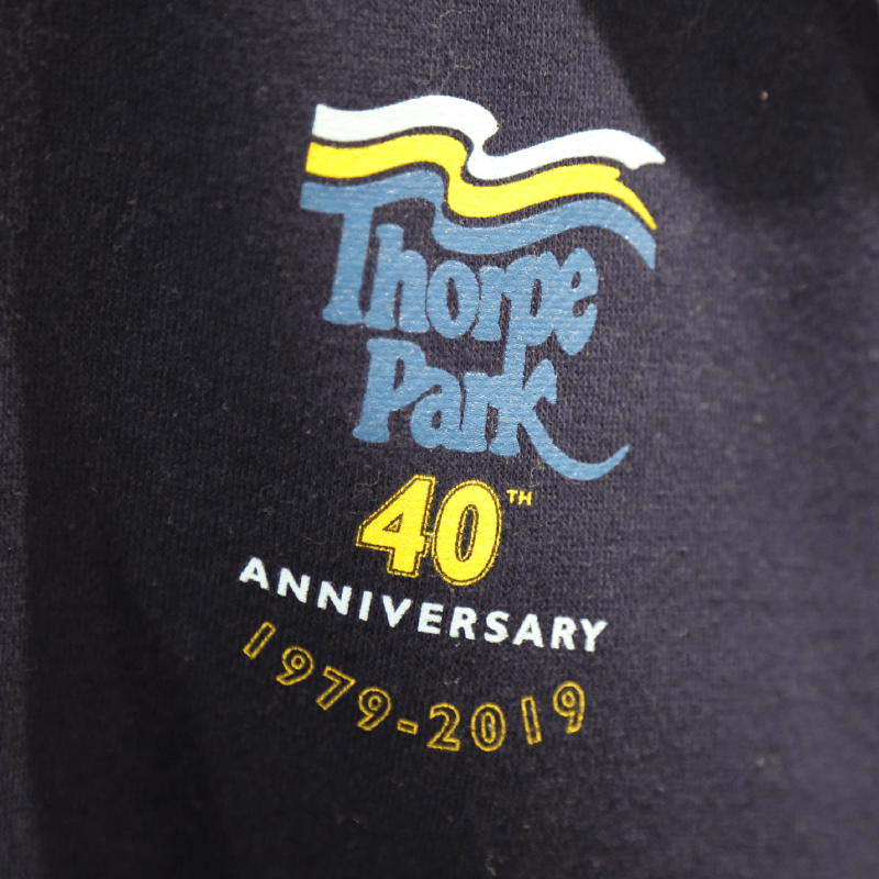 Thorpe Park 40th Anniversary T-Shirt Closeup