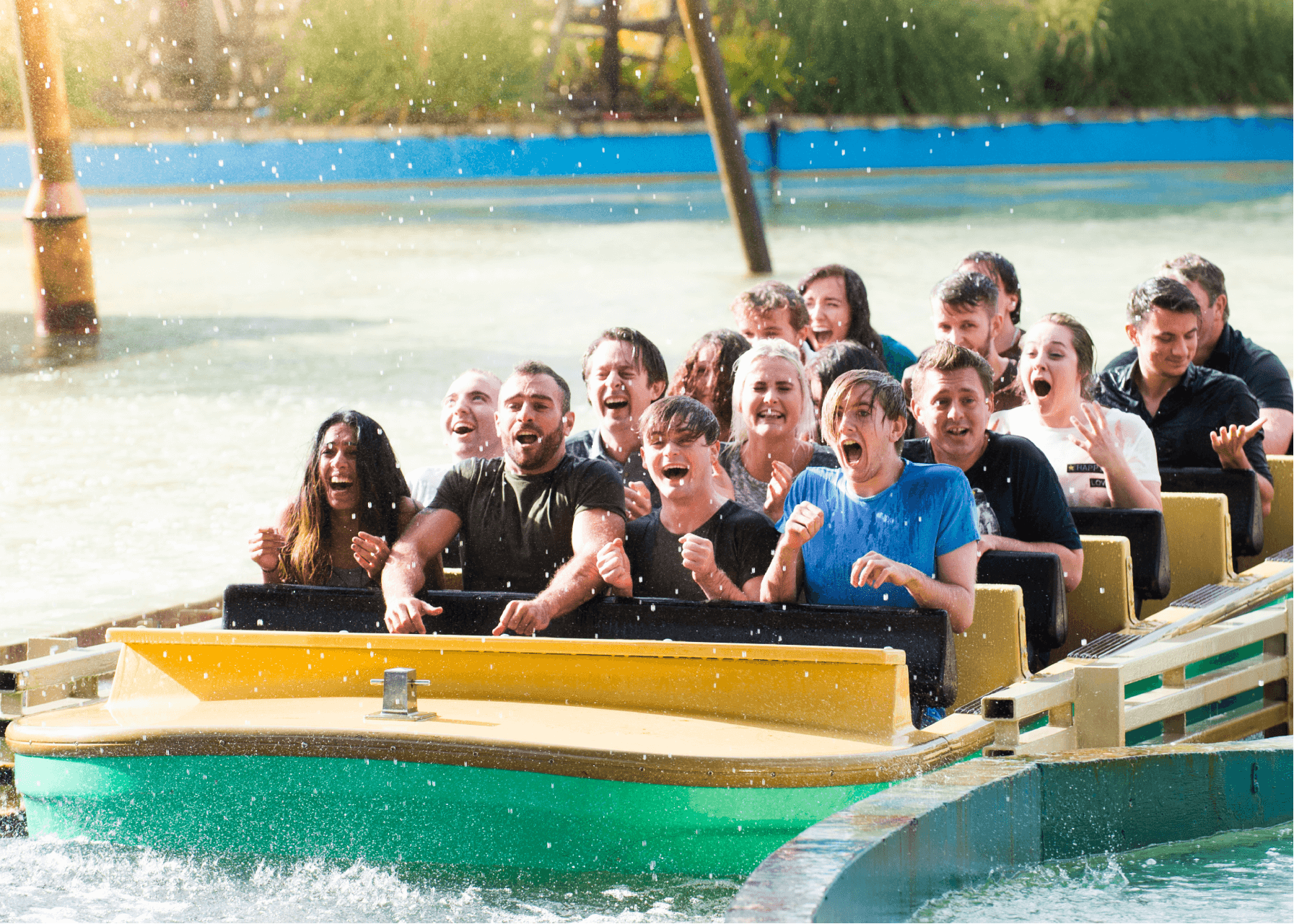 Tidal Wave Water Ride Soaking Wet Guests Closeup