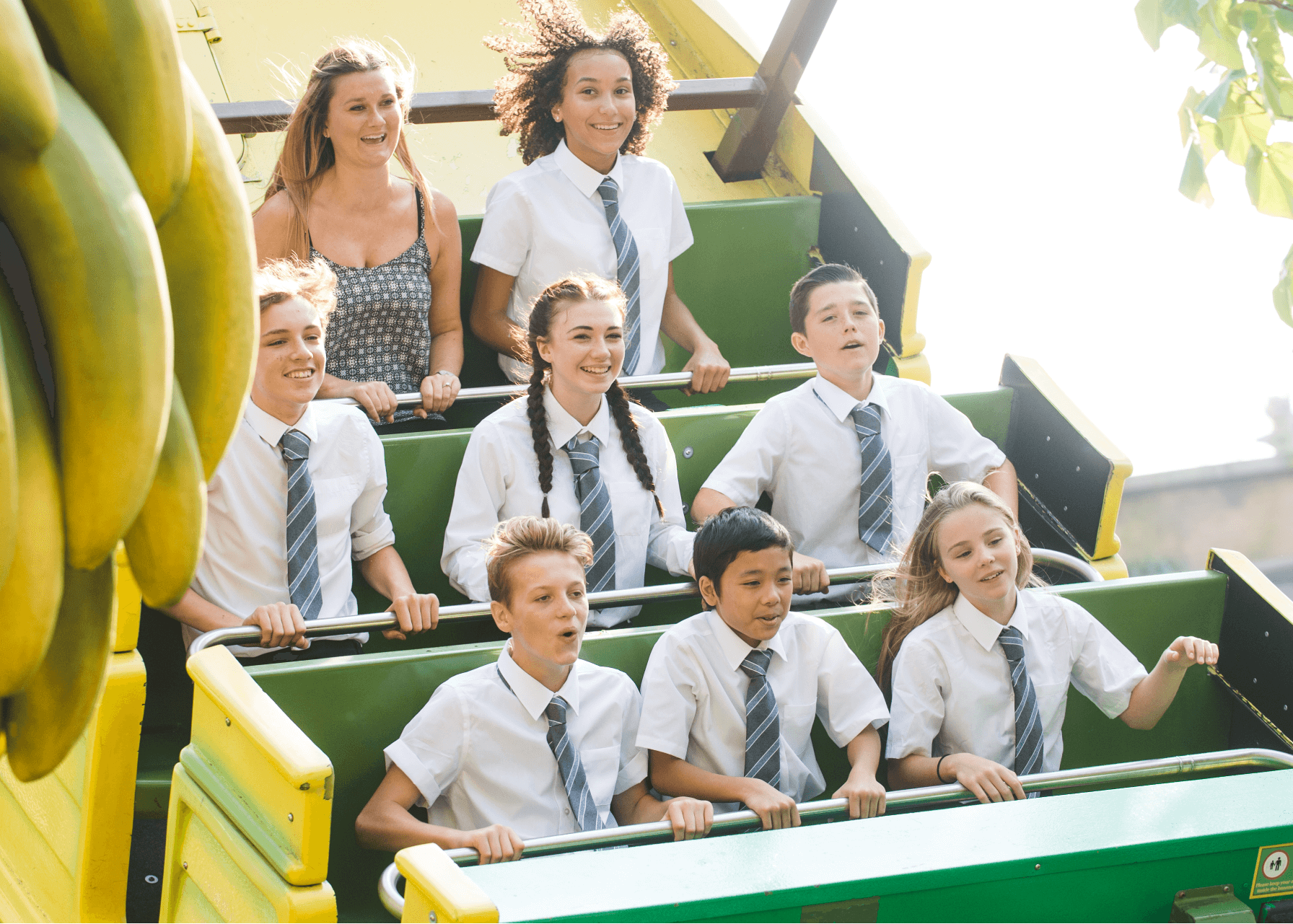 Primary School Group And Teacher On Mr Monkeys Banana Ride