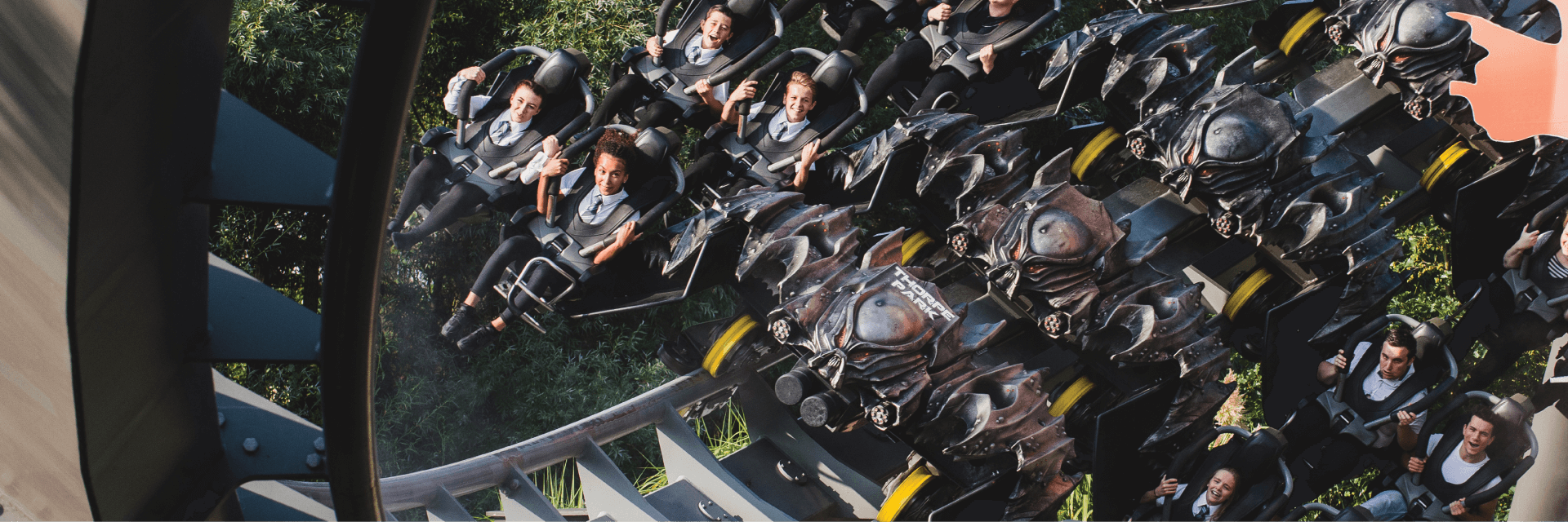 Students On The Swarm Rollercoaster