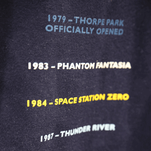 Thorpe Park 40th Anniversary Jacket With Timeline On Back Closeup