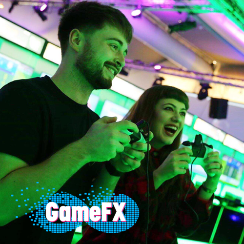Gamefx, friends laughing whilst playing a game